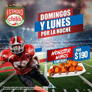 Chili's: monster wings ilimitadas domingos y lunes desde las 6