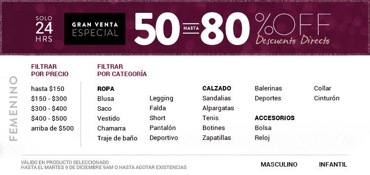 Gran venta especial en DAFITI Descuentos de 50% a 80%