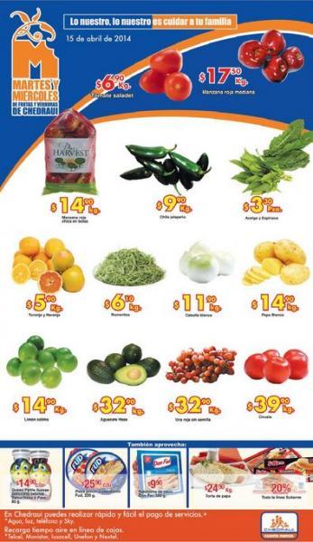 Ofertas de frutas y verduras en Chedraui 15 y 16 de abril de 2014: limón $14.90 el kilo y más