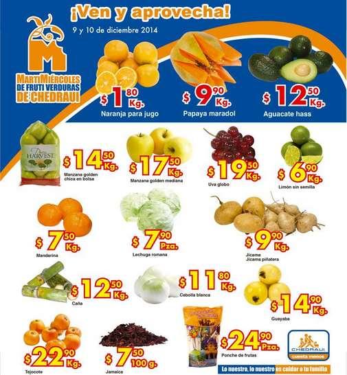 Ofertas de frutas y verduras en Chedraui 9 y 10 de diciembre: naranja $1.90 el kilo y más