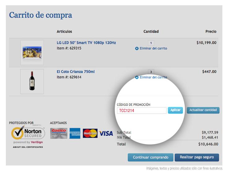 Cupón $300 descuento usando tarjeta de crédito Costco