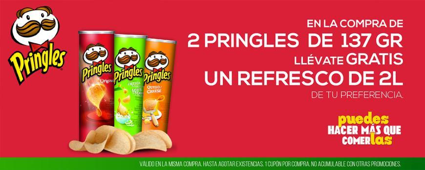 Chedraui Cuponcash: Compra 2 Pringles de 137gr y llevate GRATIS 1 refresco de 2 litros.