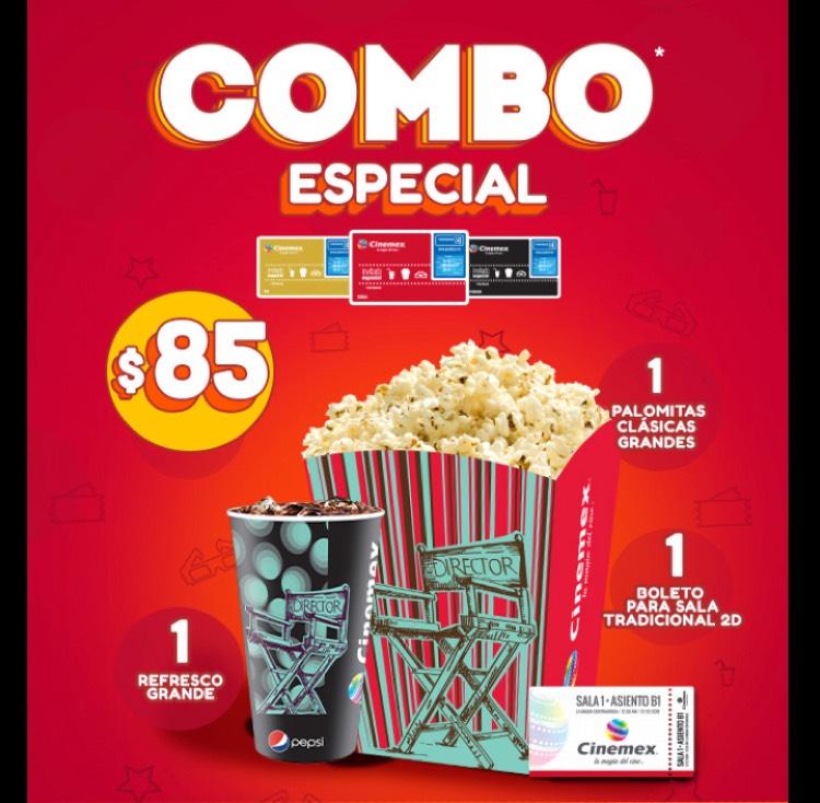Cinemex PUEBLA Centro, Del Parque o Hermanos Serdán: combo de boleto, palomitas y refrresco por $85