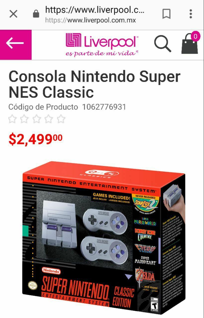 Liverpool: Super NES Classic Edition, disponibilidad en sucursales