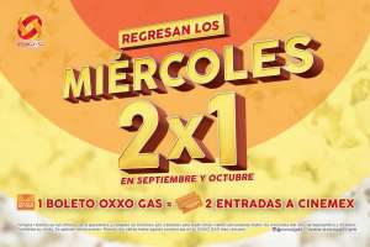 Oxxo Gas: Miércoles de 2x1 en Cinemex al comprar boleto en Oxxo Gas