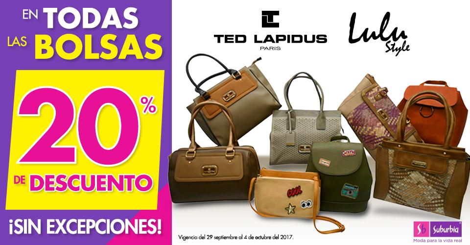 Suburbia: 20% de descuento en todas las bolsas Ted Lapidus y Lulú sin excepciones