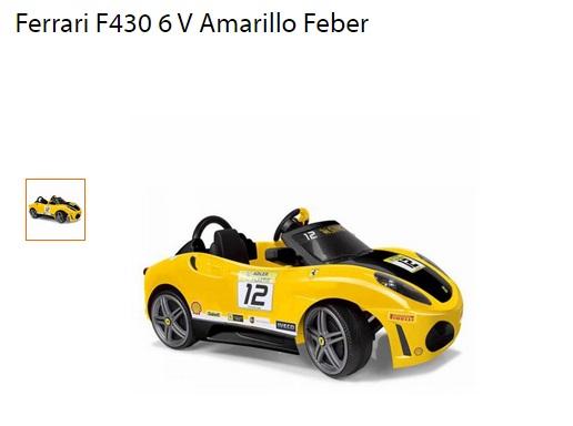 Walmart: montable Ferrari F430 6 V Amarillo Feber $1,700 con MP