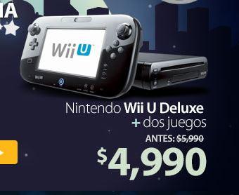 Nintendo Wii U Deluxe con Super mario bros U y Super Luigi U $4,491 con Bancomer, $4,599 con MP