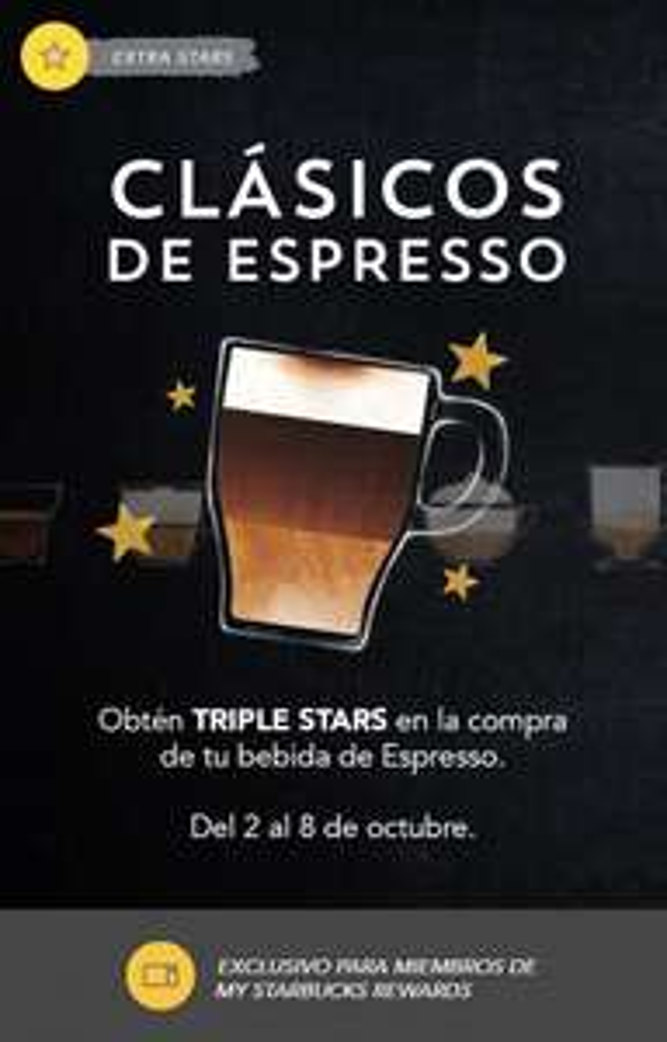 Starbucks: obtén TRIPLE STARS en la compra de tu bebida de Espresso del 2 al 8 de octubre (socios nivel Gold)