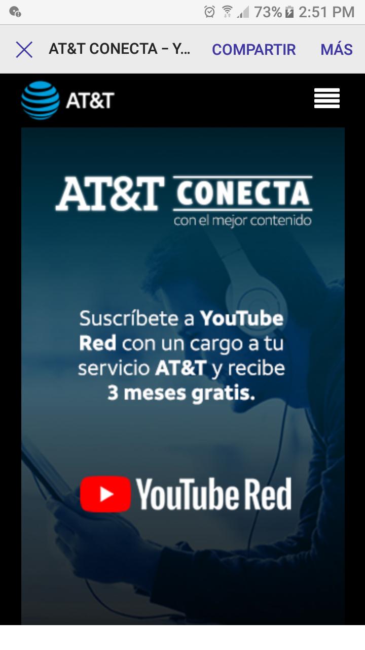 3 meses gratis YouTube Red para miembros AT&T