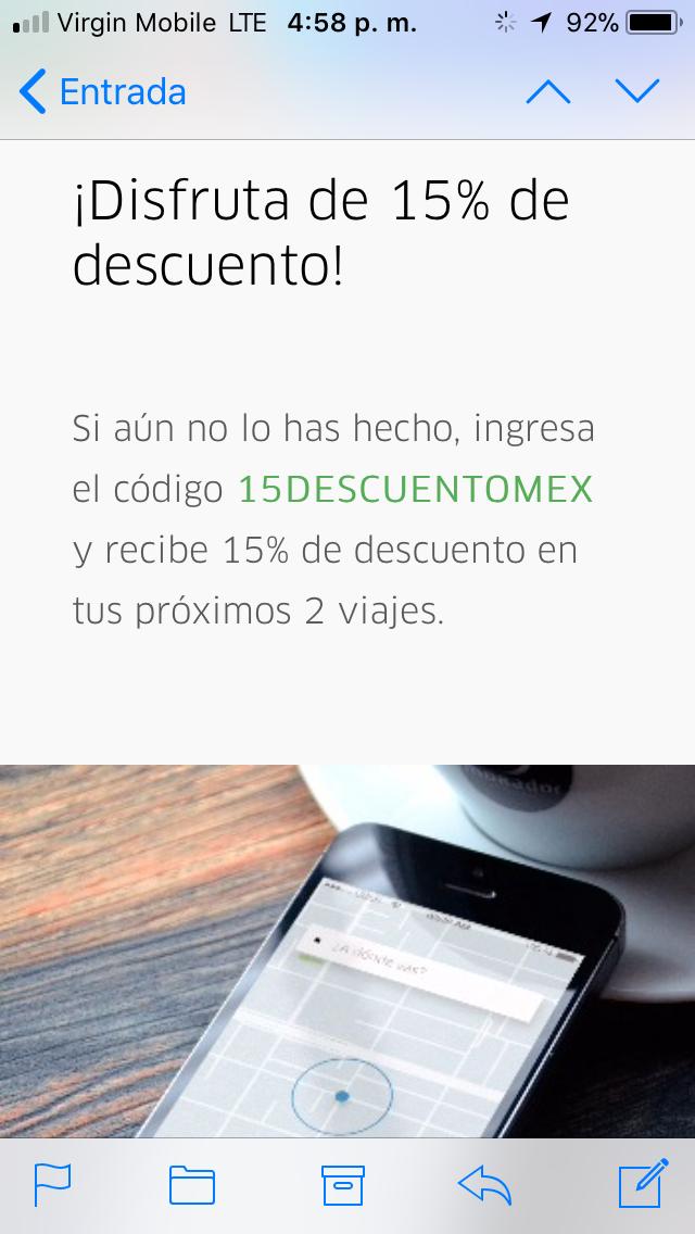 Uber Toluca: 15% de descuento en los próximos dos viajes(todos los usuarios)