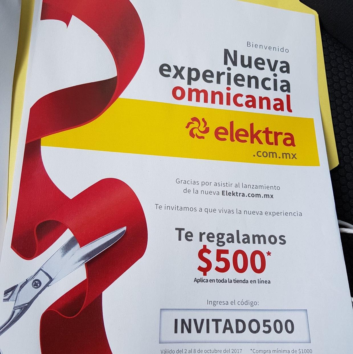 Elektra: Cupón de $500 para compra mínima de $1,000
