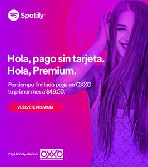 Oxxo: Spotify Premium sin tarjeta en OXXO por $49.50 (50% de descuento)