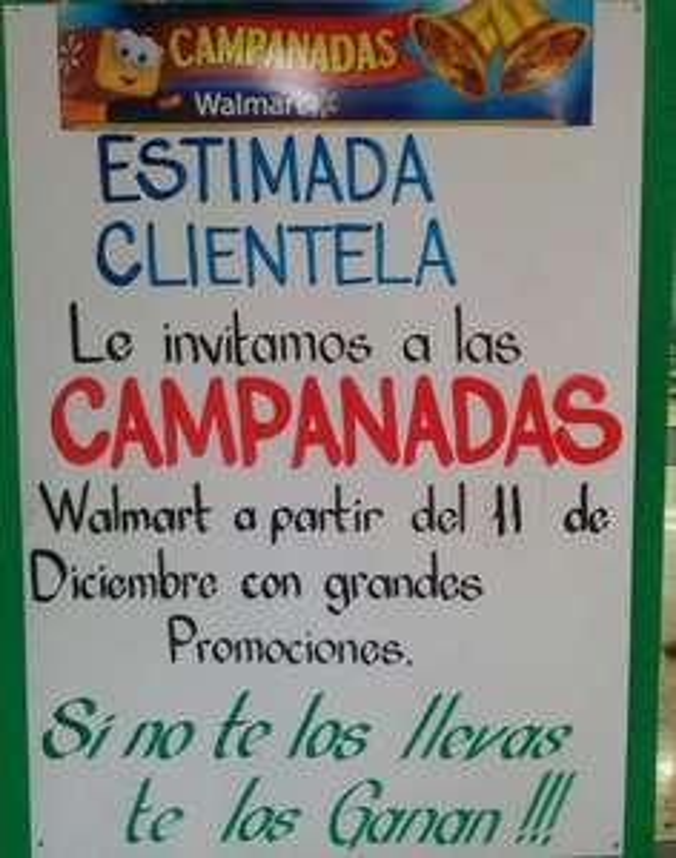 Campanadas en tiendas Walmart a partir del 11 de diciembre