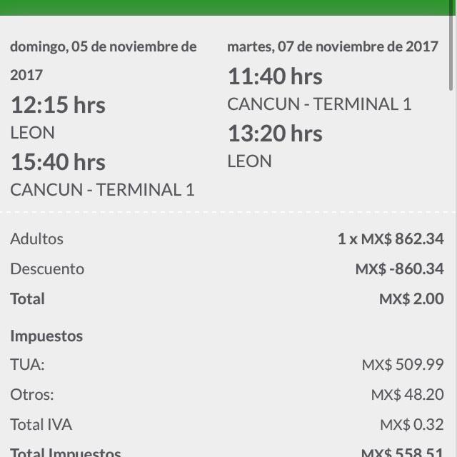 Vivaaerobus- Cancun- León redondo