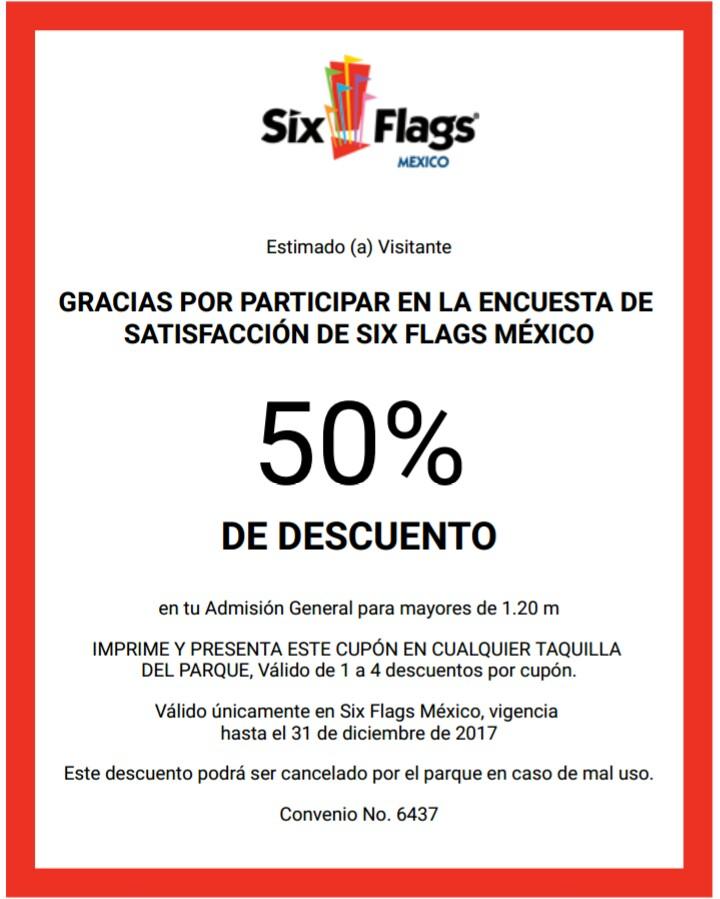 Six Flags: cupón de 50% de descuento en admisión general.