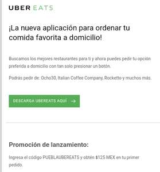 UberEats: Cupón de descuento por lanzamiento en PUEBLA!!!