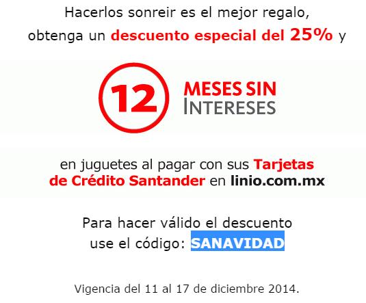 Linio: 25% de descuento en juguetes y 12 meses sin intereses con Santander