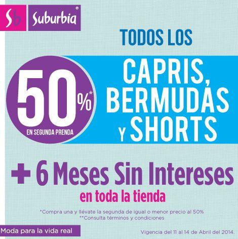 Suburbia: 50% de descuento en el segundo short, bermuda o capri