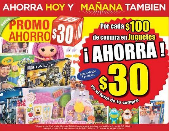 HEB: $30 menos xr cada $100 de compra en juguetes, 2x1 y medio en sillas de plástico y más