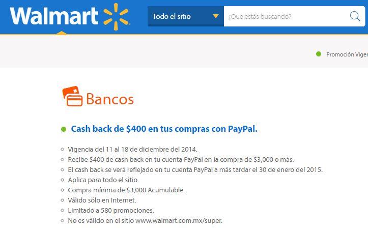 Walmart: Cashback de $400 en tus compras con PayPal