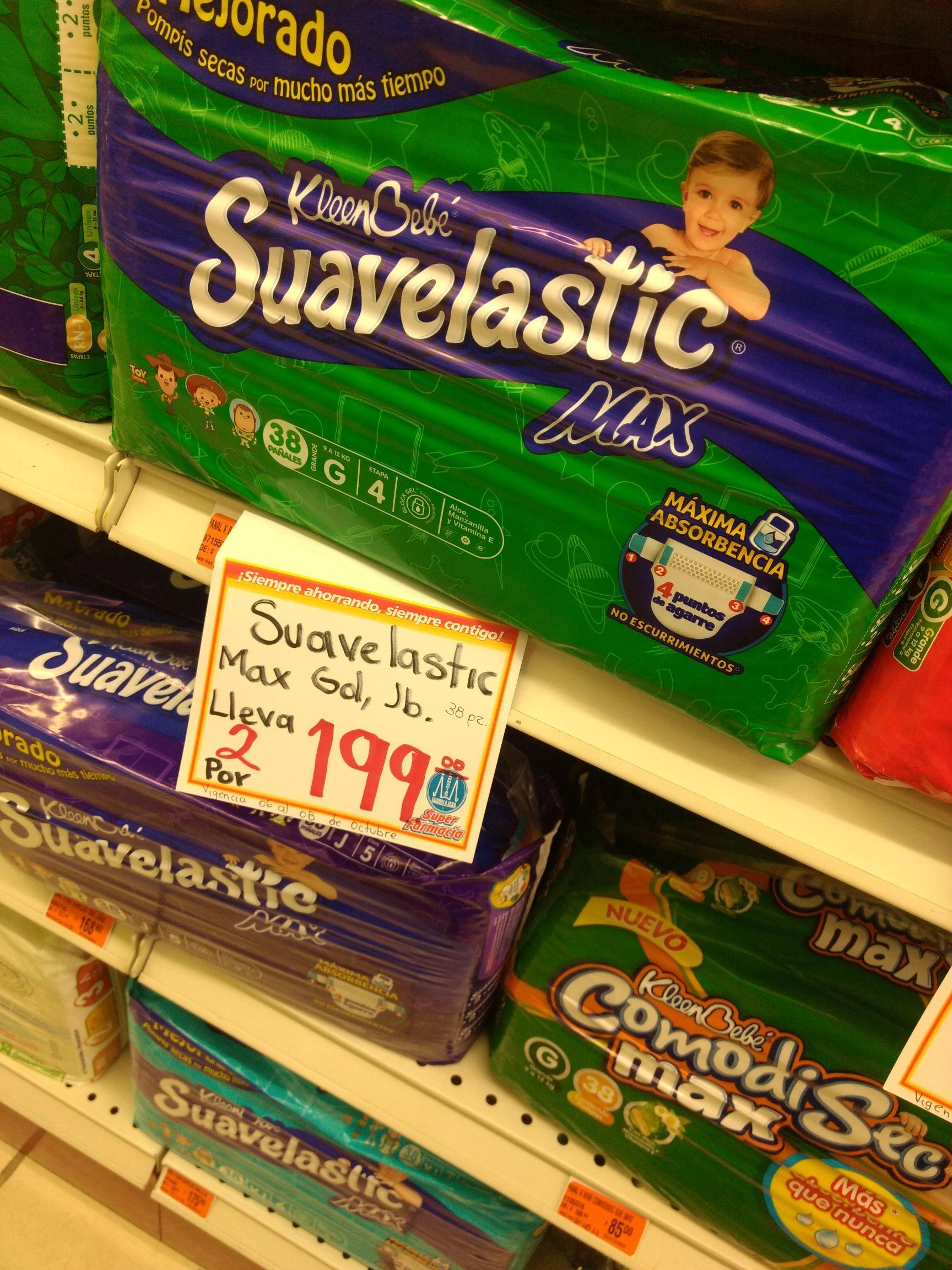 Farmacias Guadalajara: Pañales Suavelastic a 2x$199 y más