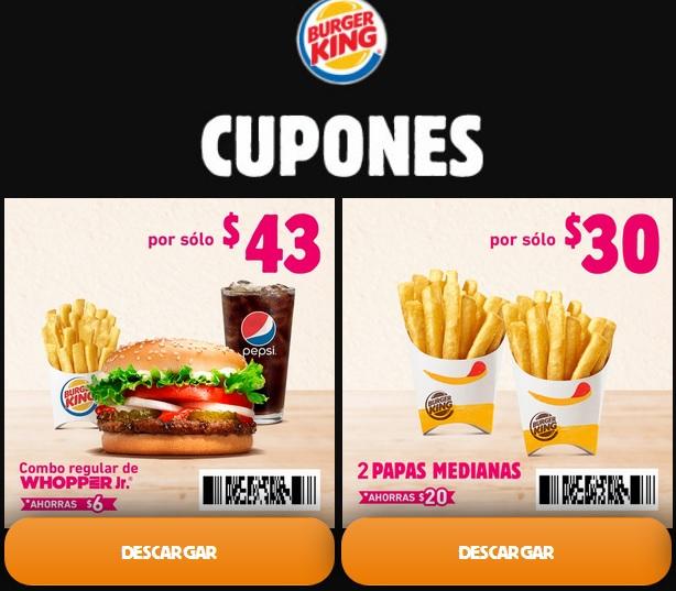 Burger King  16 CUPONES  varios Descuentos