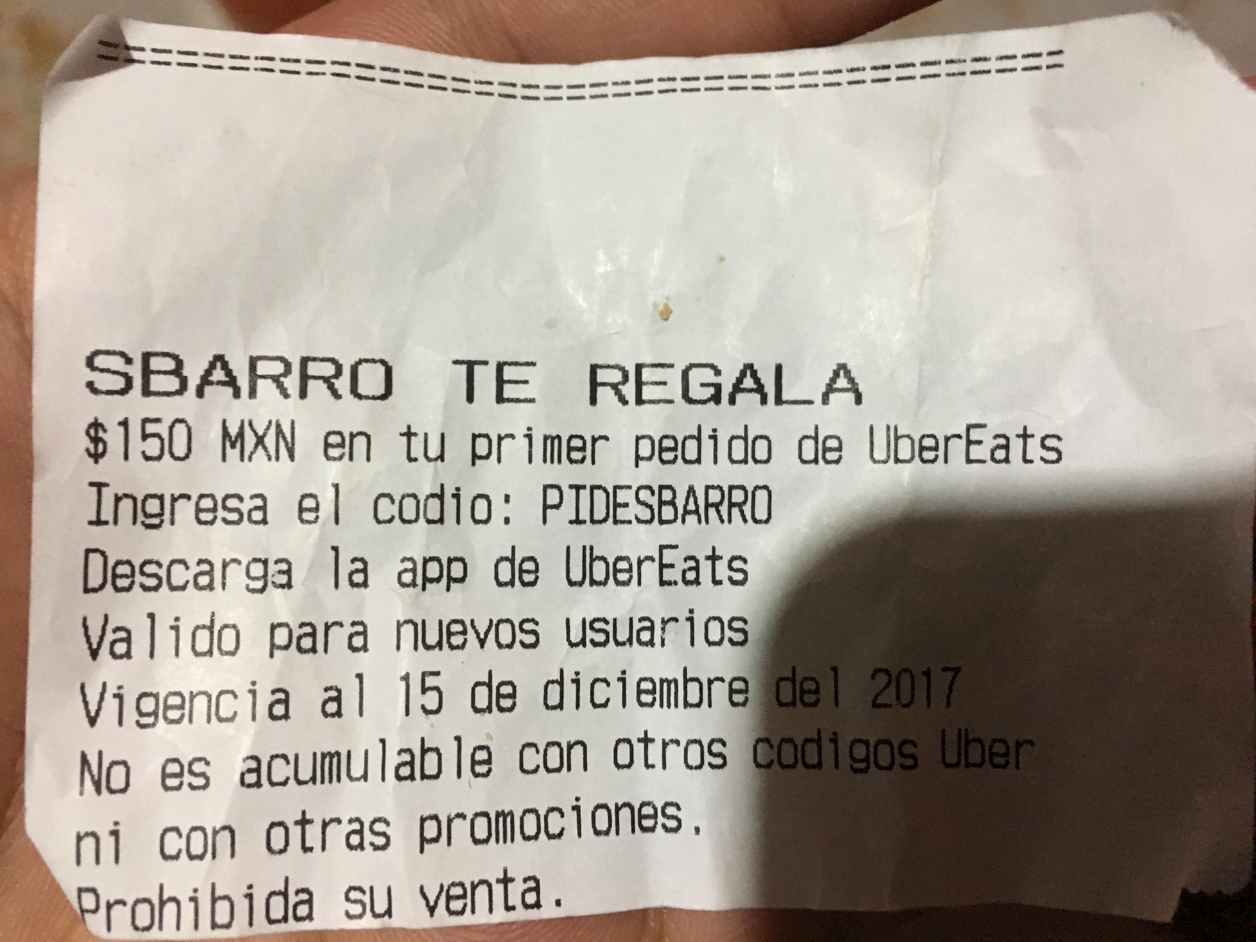 UBER EATS y Sbarro: $150 de descuento en primera compra.