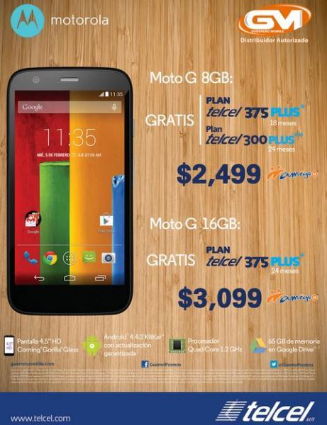 Telcel: Moto G 8GB $2,499 y de 16GB $3,099