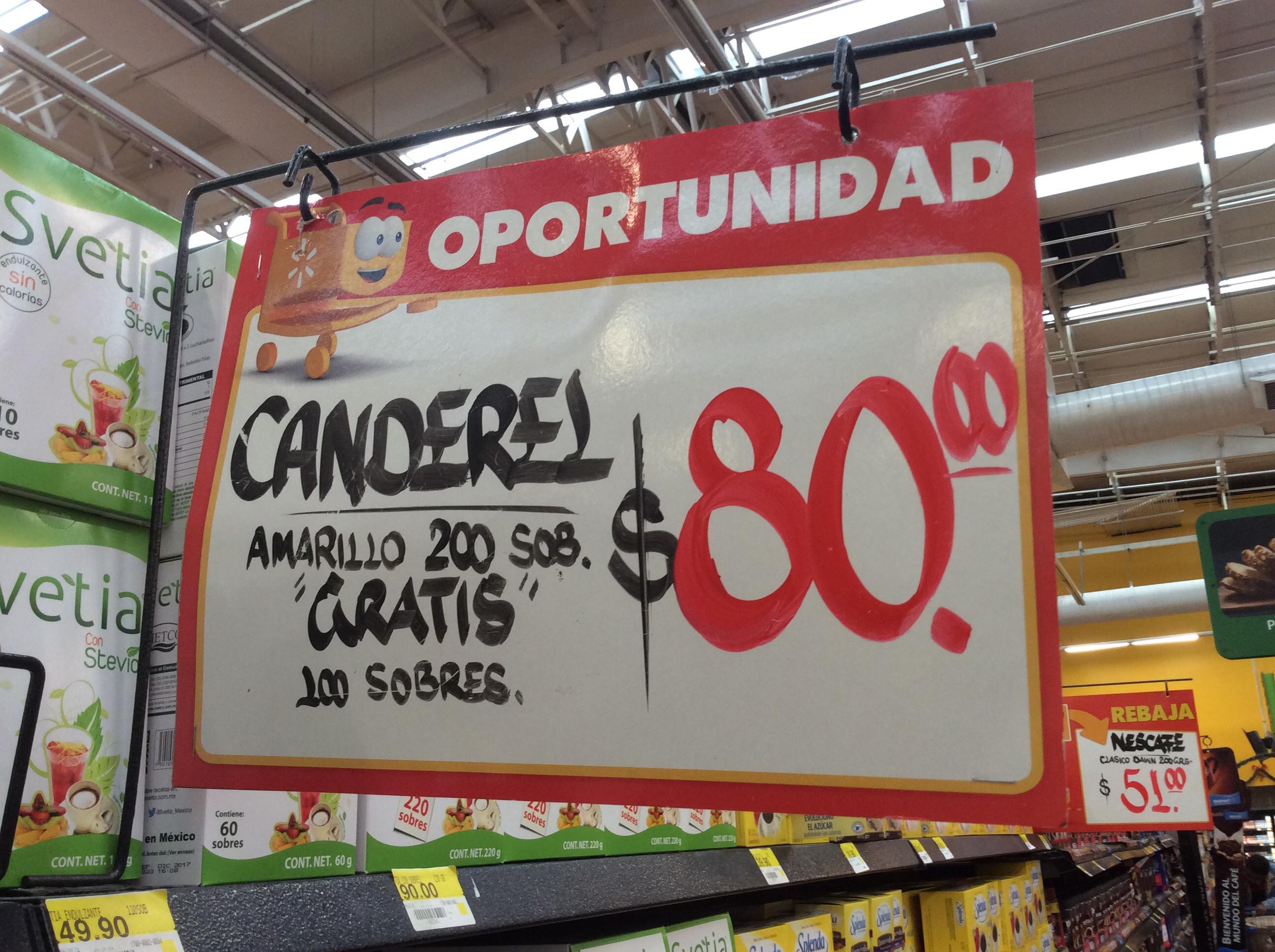 Walmart: 300 sobres de Canderel $80 (endulcorante artificial)
