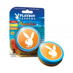 Farmacia del Ahorro en linea: Condones Play Boy Paradise Con 3 Piezas (Texturizados, aroma y sabor)