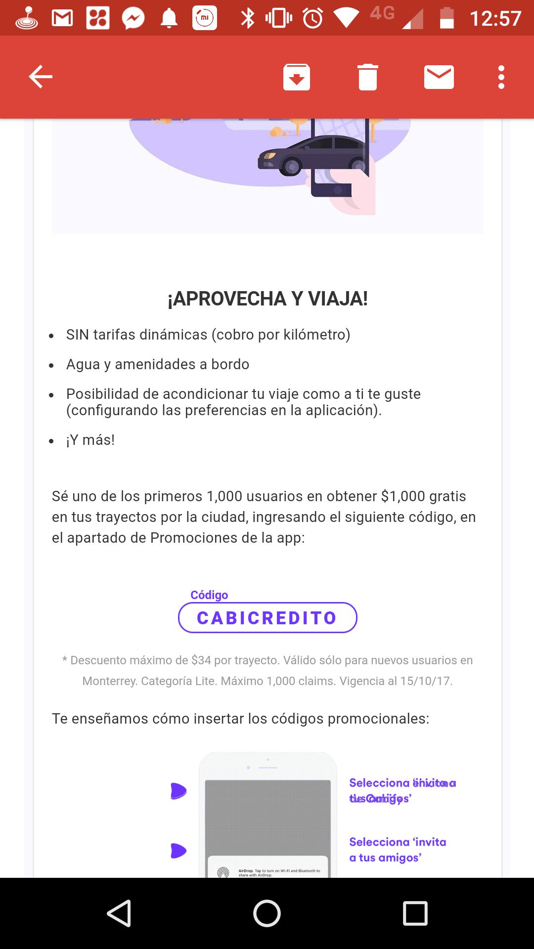 Cabify MTY: Cupón $1000 a primeros 1000 usuarios en redimir