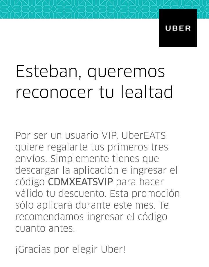 Uber Eats: Primeros 3 envíos gratis (nuevos usuarios)