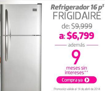 Liverpool: refrigerador Frigidaire 16' $6,799 y meses sin intereses