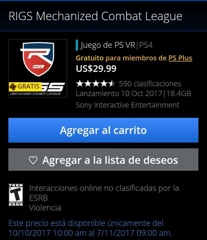 PSN PLUS: Juego RIGS gratis para Playstation VR PS4