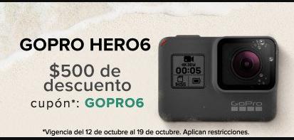 Linio: $500 mxn de Regalo para GoPro Hero6 (precio del artículo $9,990)