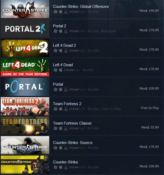 Valve Complete Pack (25 juegos y/o complementos) por $253.54 pesos normalmente $800.00 en pack, 2,100.00 individuales.