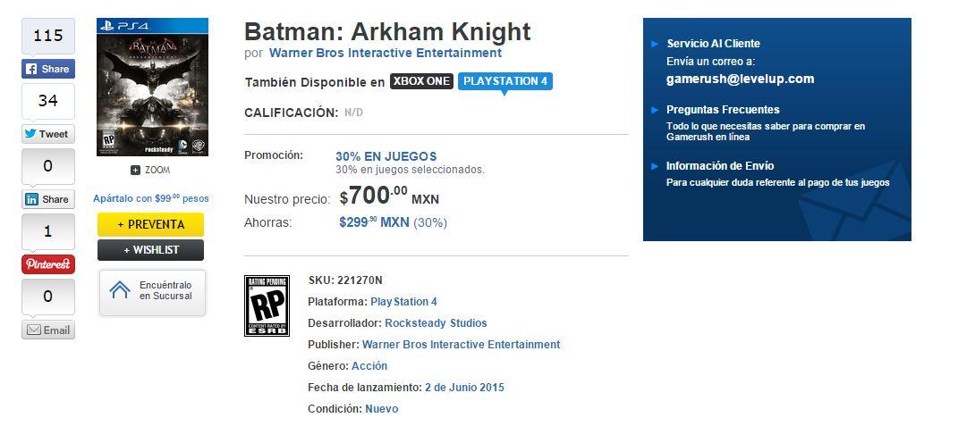 Preventa Batman Arkham Knight y The Witcher PS4, Xbox One entre otros a $700