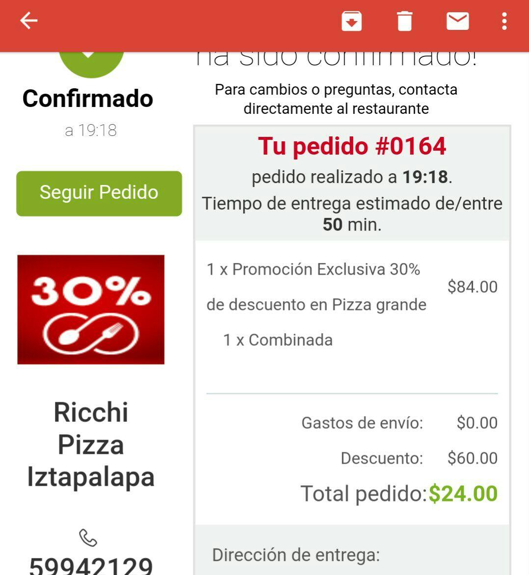 SinDelantal Ricchi Pizza Iztapalapa CDMX: Pizza grande a $24 con cupón