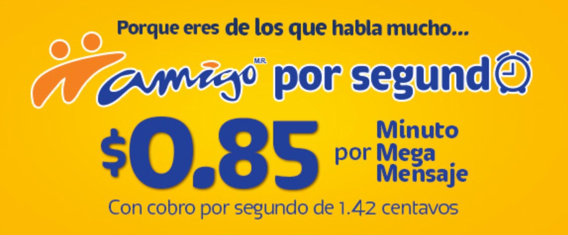 Telcel - Plan amigo por segundo (nueva tarifa de $0.85 el min)