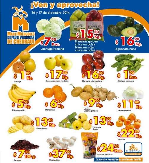 Ofertas de frutas y verduras en Chedraui 16 y 17 de diciembre