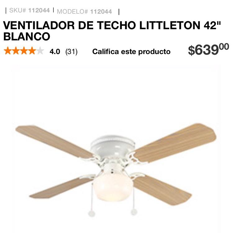Home depot ventilador techo littleton 42 for Ventilador techo bricodepot