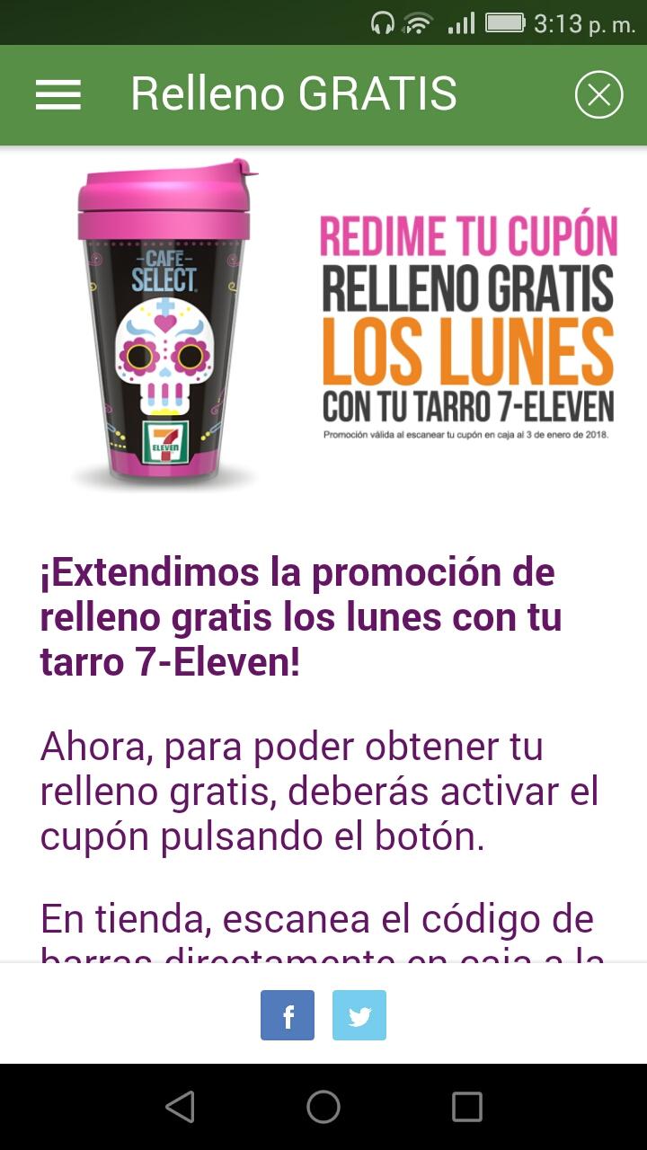 Seven Eleven: Se actualiza café 7 eleven relleno 3 por cada lunes