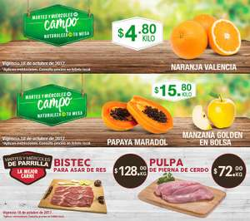 Comercial Mexicana y MEGA: Martes y Miércoles del Campo 17 y 18 Octubre: Naranja Valencia $4.80 kg... Papaya Maradol o Manzana Golden en Bolsa $15.80 kg.