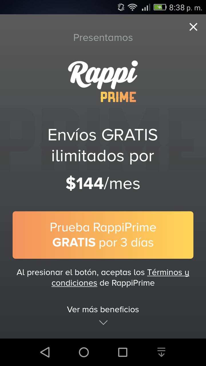 Rappi Prime: prueba por tres días gratis (el mes a $144)