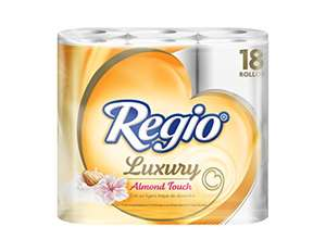 AMAZON: Regio Luxury Almond Touch - Papel Higiénico, con 18 Rollos de 215 hojas triples.