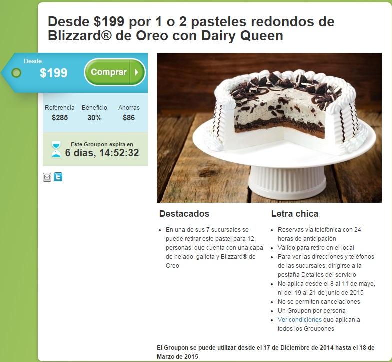 Groupon: Desde $199 por 1 o 2 pasteles redondos de Blizzard de Oreo en Dairy Queen (MTY)