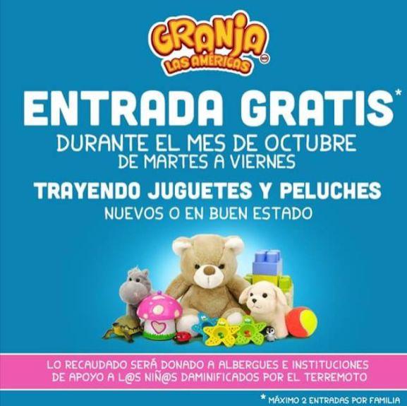 Granja Las Américas: entrada Gratis con juguete en buen estado de martes a viernes