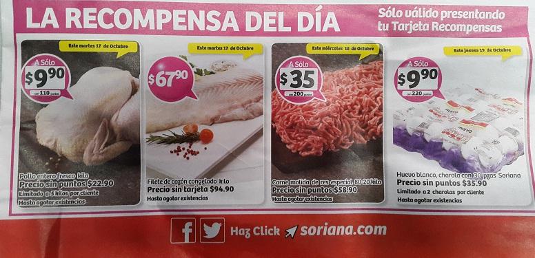 Soriana Híper y Súper: Recompensas del Martes 17 al Jueves 19 Octubre: Pollo Entero, Filete de Cazón, Molida de Res 80-20, Huevo Blanco