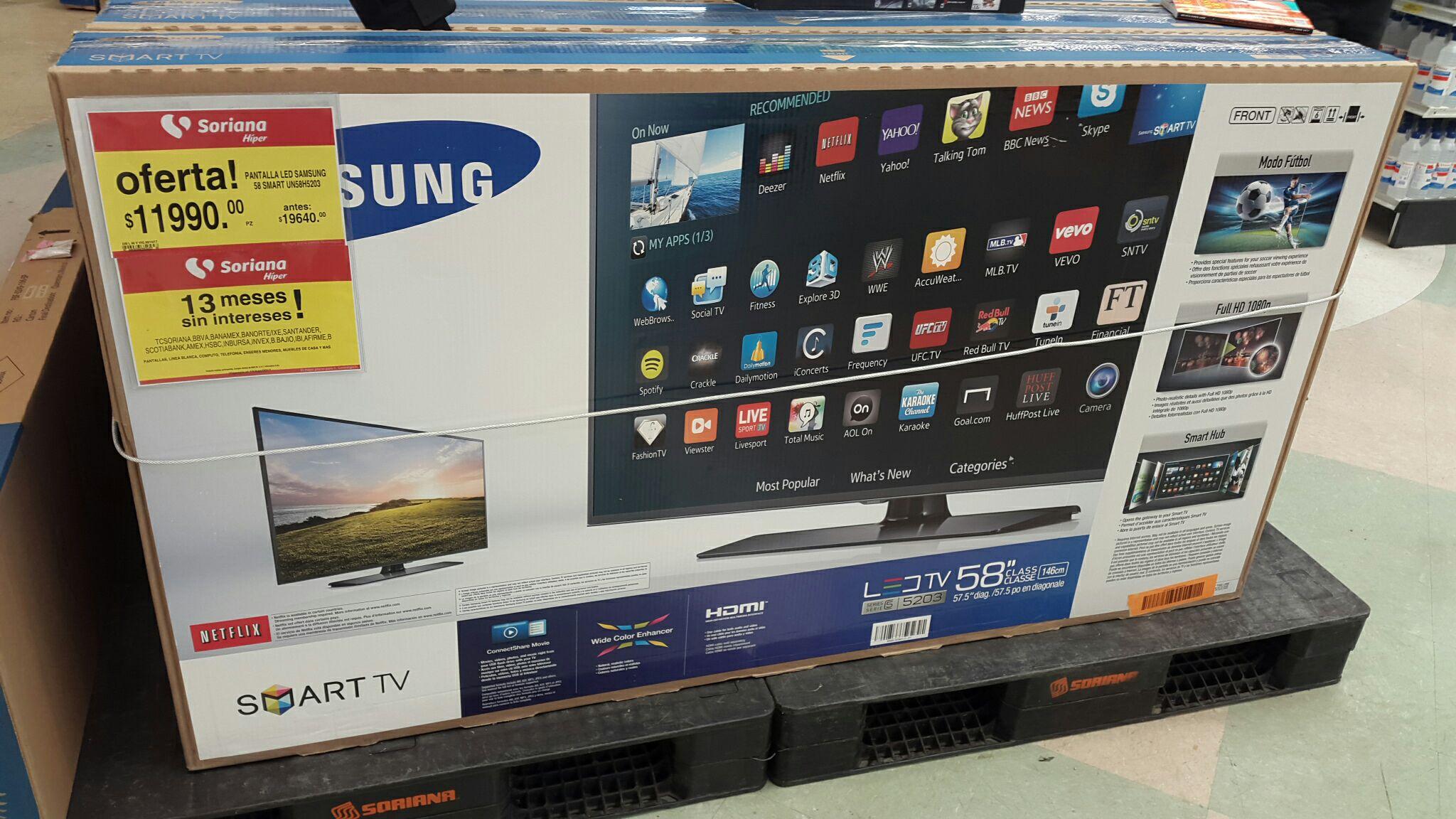 "Soriana: PANTALLA SAMSUNG 58"" LED SMART TV FULL HD"
